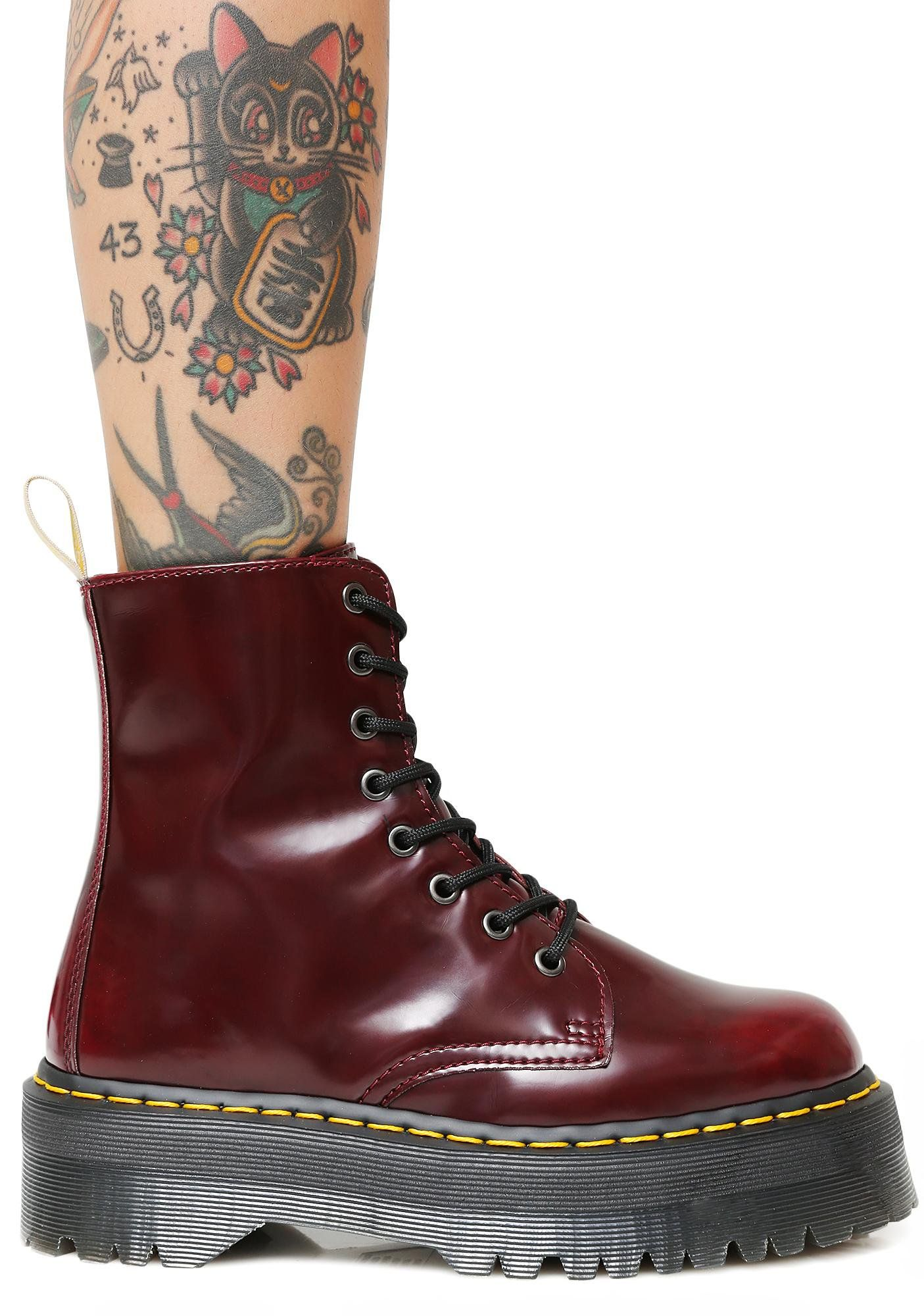 Dr. Martens Cherry Vegan Jadon II Boot when you re going commando. These cherry  red vegan leather boots feature a super chunky platform 48dc721c6d14f