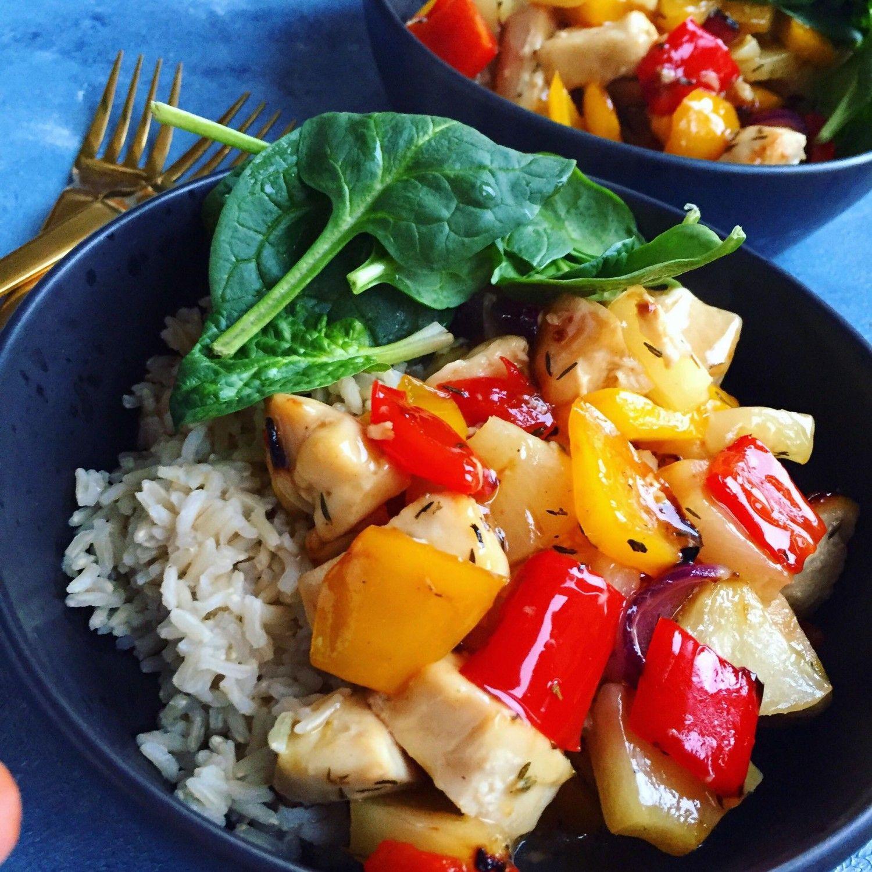 Kylling I Sursød Sauce Med Ananas Det Asiatiske Køkken Ethnic