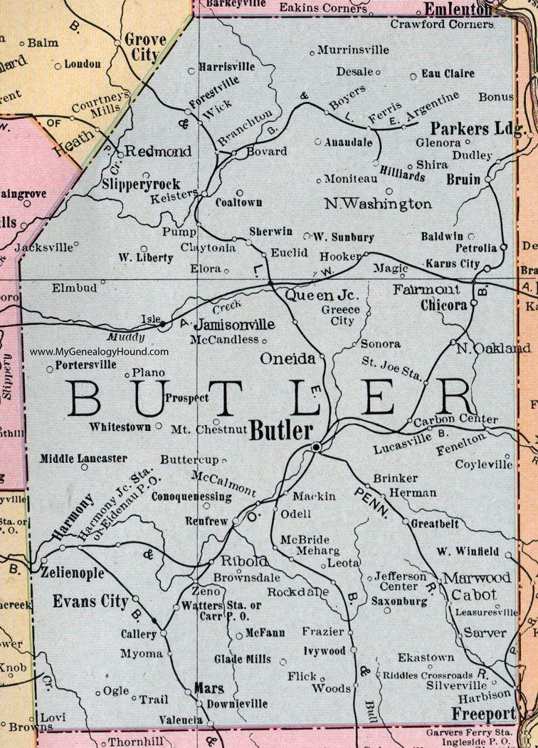 Butler County, Pennsylvania, 1911, Map, Oneida, Zelienople, Harmony on