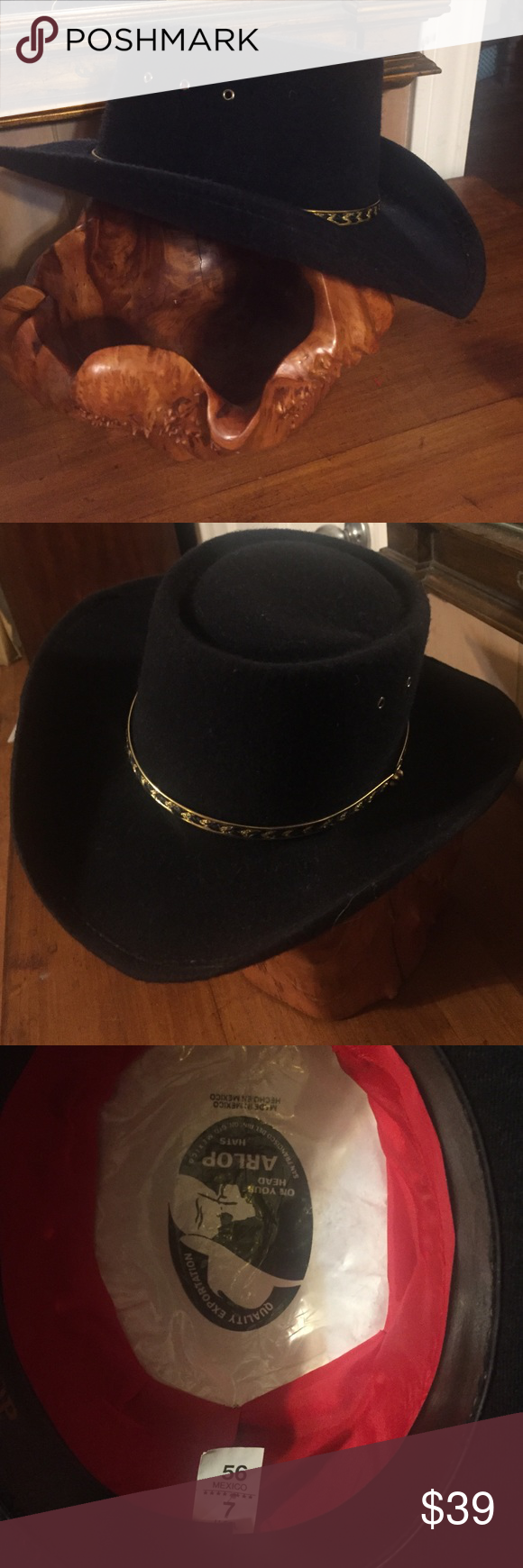 Size 7 🍂Vintage Arlop Black Cowboy Hat. Size 7. 100% wool. Metal gold and black  hat band. Made in Mexico. Excellent vintage condition. Vintage Accessories  ... ed3f23234ee7