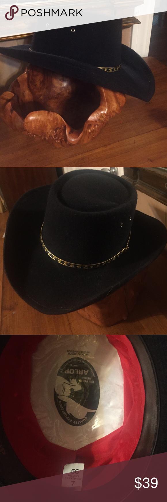 Vintage Arlop Black Cowboy Hat Size 7 Black Cowboy Hat Cowboy Hats Vintage Accessories