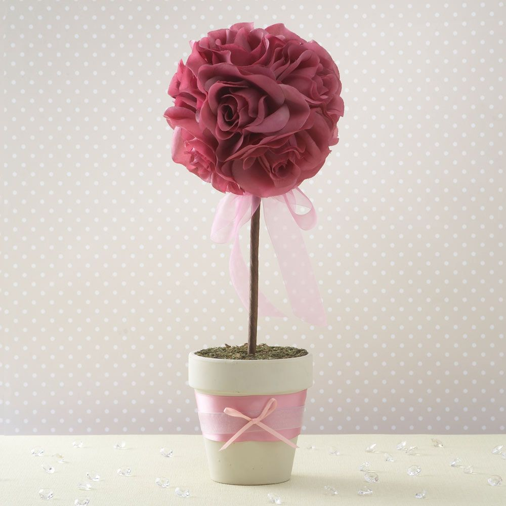 Wonderful Wedding Topiary Ideas Part - 12: This Colourful Fabric Petal Wedding Topiary Tree Is A Stunning And  Fantastic Value Centrepiece. The Topiary Tree Trimmed With Pretty Chiffon  Ribbon Is.