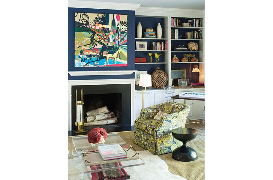 fabulous art work + perfect blue walls + fabulous over palette. Design by Barrie Benson.