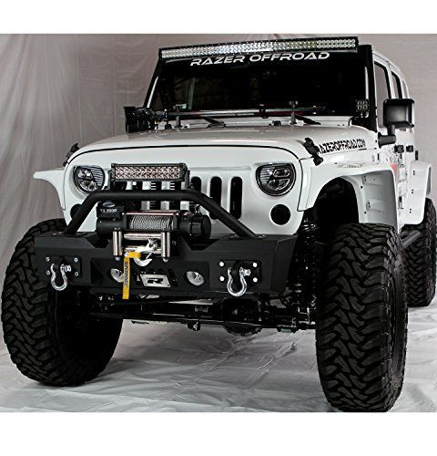 Razer Auto Jeep Jk Stubby Front Bumper With Fog Lights D Rings Winch Plate Jeep Jk Jeep Cars Jeep Bumpers