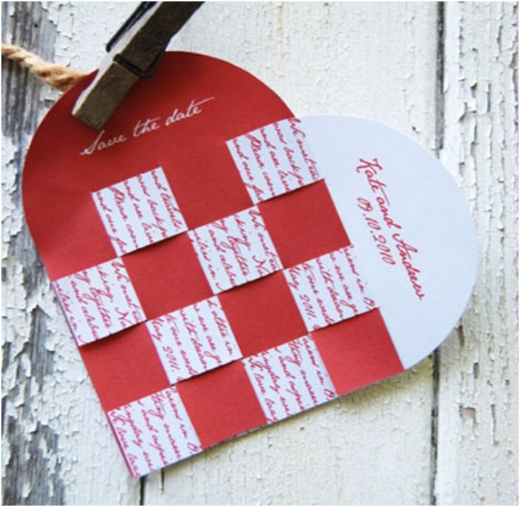 Cheap Print Your Own Wedding Invitations: DIY Wedding Heart Save The Date Card