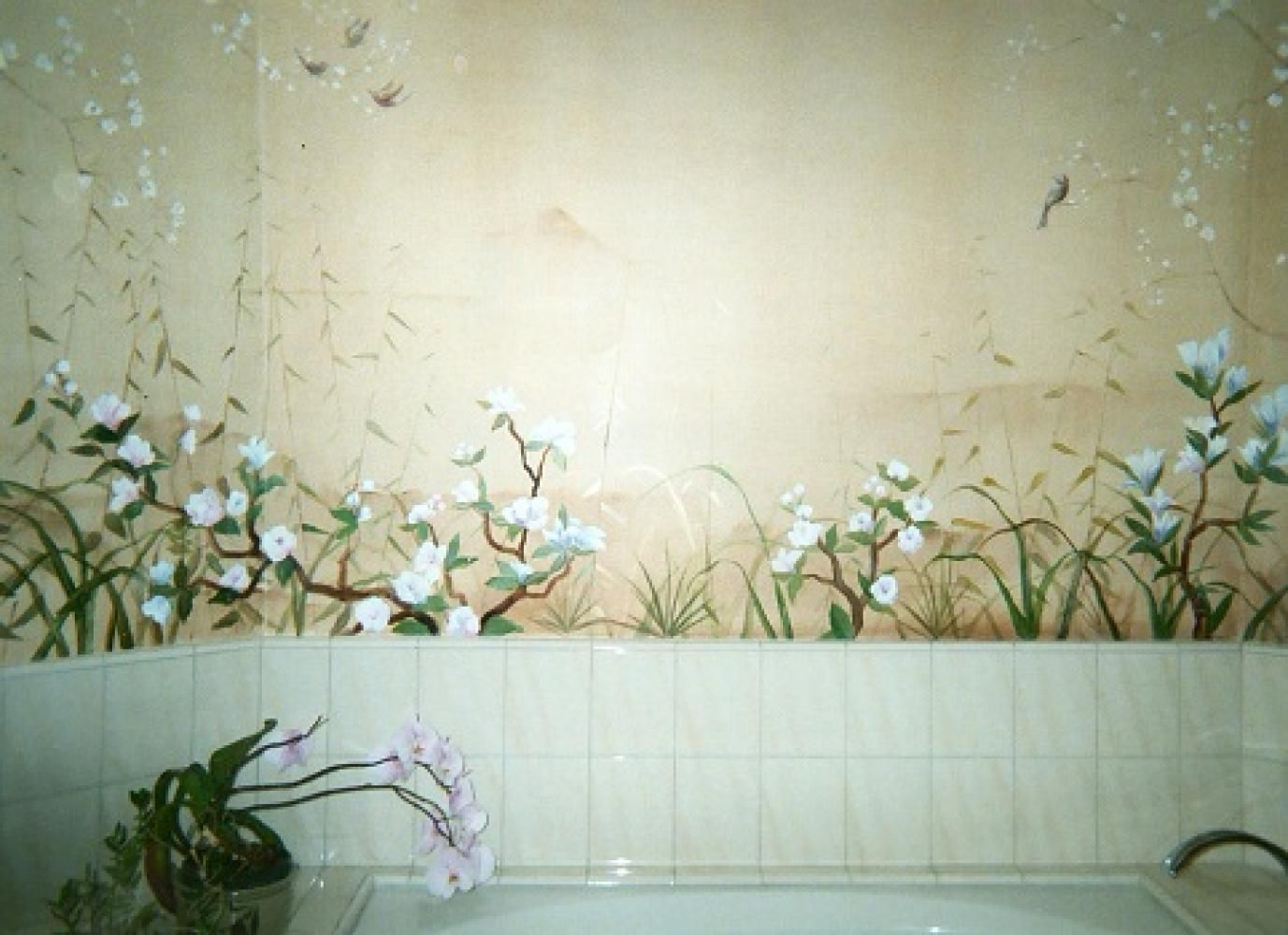 Japanese Mural For A Bathroom Hand Painted Bathroom Mural By Alexandra Pastorino