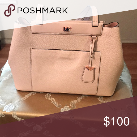 d0001dfaef64 Michael Kors Meredith Medium Pebble leather Tote Color Soft Pink W 16 H  10.5 D 5 Michael Kors Bags Totes