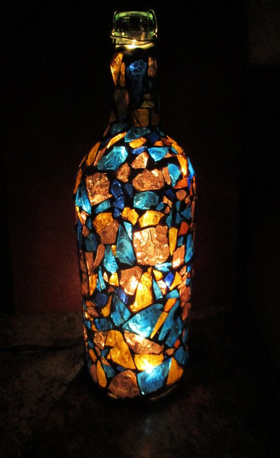 Sweet Dreams Mosaic Wine Bottle Light My Artwork