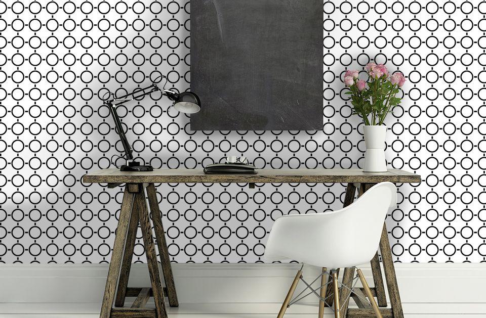 Chambre Ado Paris  Papier peint motifs géométriques rond en noir et