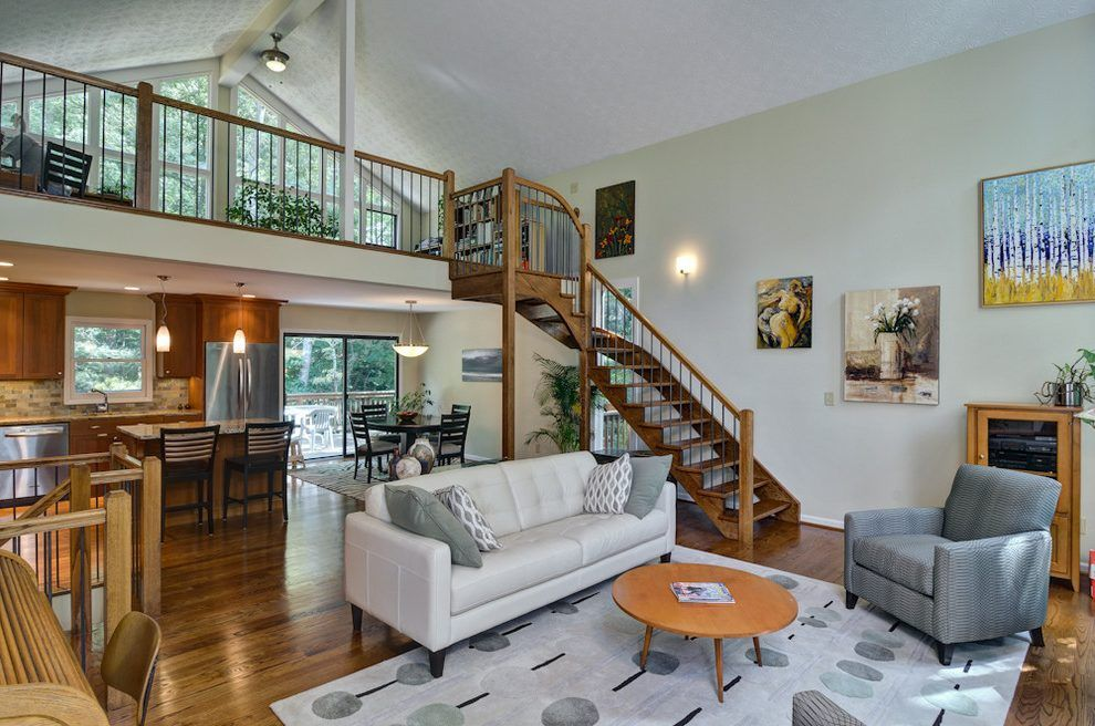 mezzanine loft living room eclectic with spiral stairs