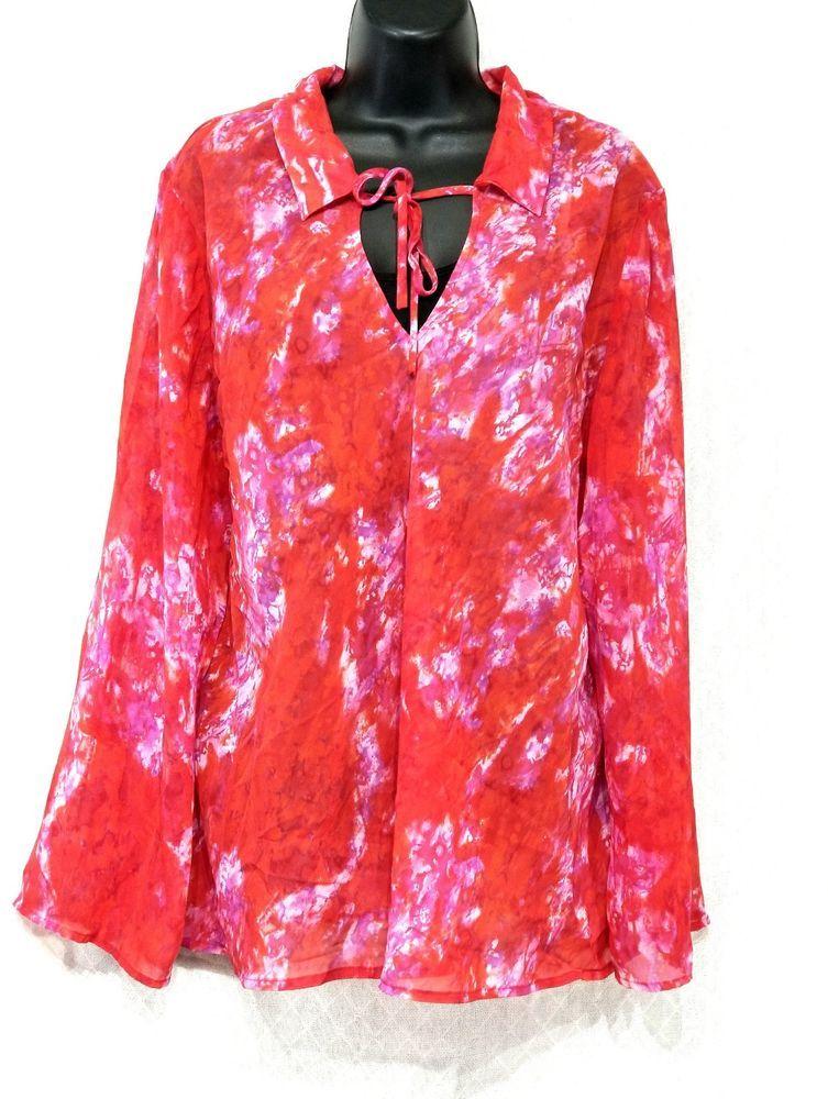 Venezia Shirt 22 24 Pink Floral Blouse V Neck Long Sleeves Semi Sheer Plus 3x Venezia Blouse Casual Floral Blouse Blouse Shirts