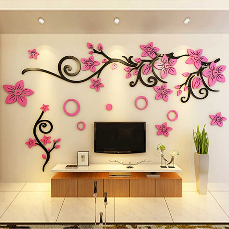 Click To Buy Bonzer Tv Background Flower Pattern Wall Sticker Diy Acrylic Stickers Living Wall Decor Wall Stickers Living Room Contemporary Wall Stickers