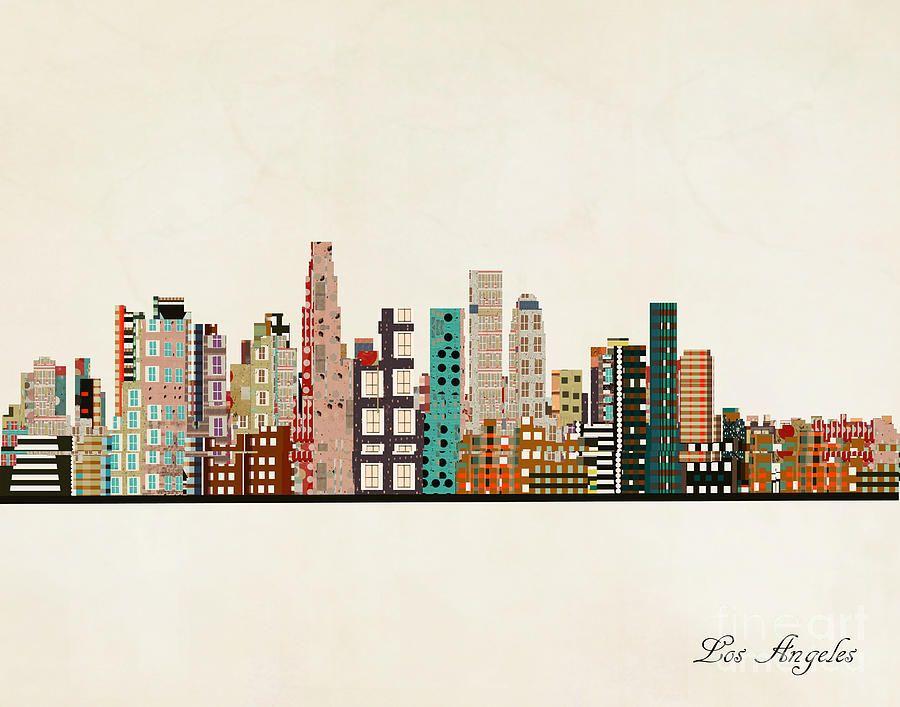 Painting Los Angeles California By Bri Buckley Affiliate Ad Spon Angeles Buckley Bri Los In 2020 City Skyline Art Chicago City City Skyline