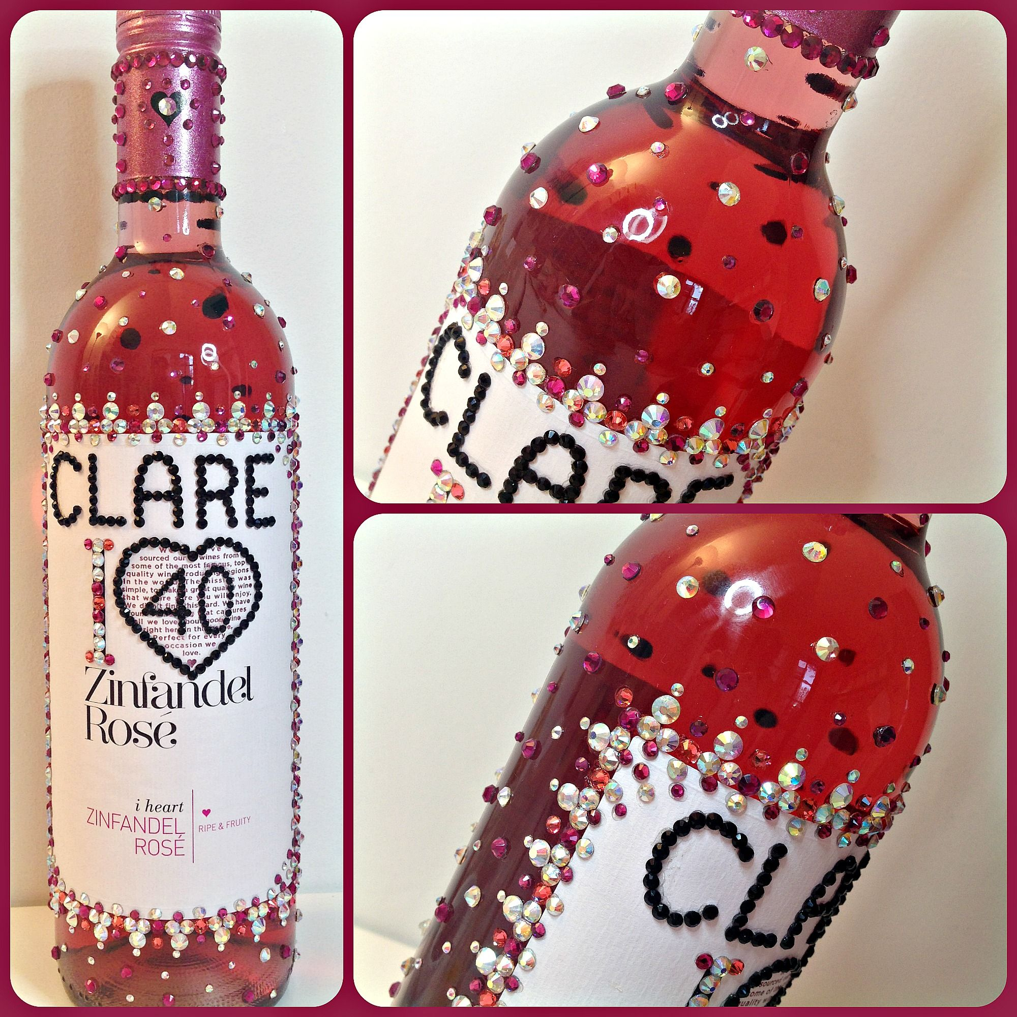 Rose Sparkling Wine Bottle Decorated With Various Coloured Crystals Made For Clare S 40th Birthday Bottles Decoration Christmas Bulbs Sparkling Wine