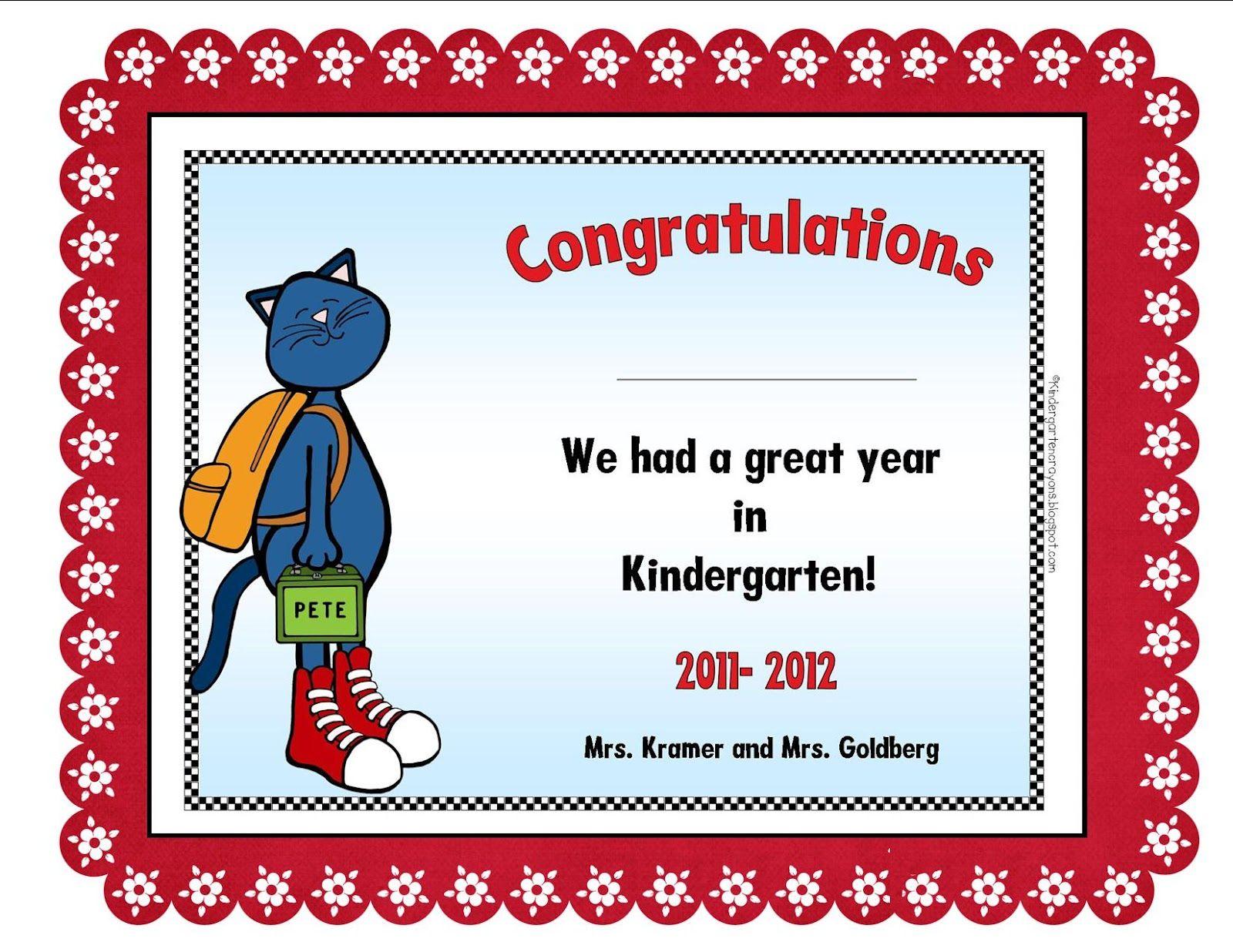 Certificate kindergarten crayons kindergarten