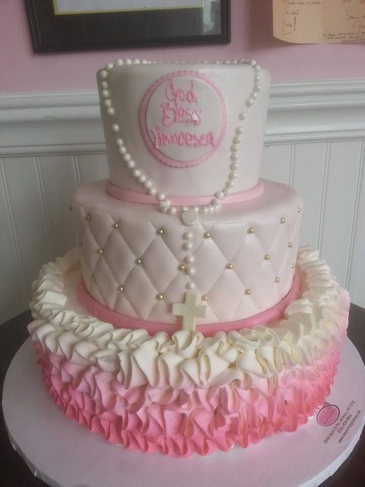 Cake Ideas For Girl Baptism : Ombre girl christening cake Cakes Pinterest ...