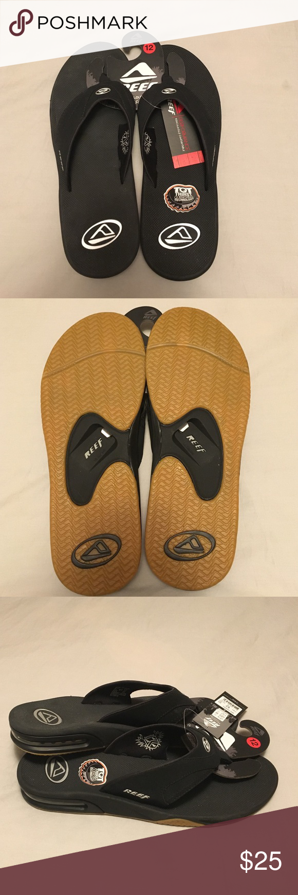 a3a965b7a36c NWT Reef Bottle Opener Sandals Men s size 12 Reef black silver Fanning flip  flops with bottle opener on bottom. Brand new with tags