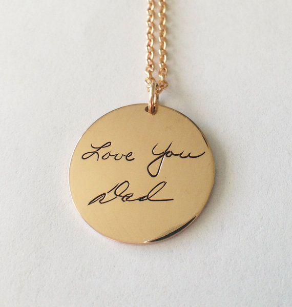 Personalized handwriting necklace signature pendant custom personalized handwriting engraved necklace gold filled up to 15 characters aloadofball Choice Image