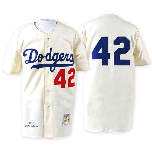 brooklyn dodgers authentic 1955 jackie robinson home jersey by mitchell ness mlb