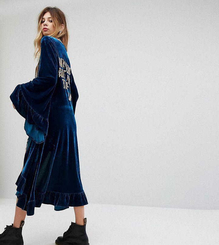 e98d2ee66a8 Sacred Hawk Velvet Maxi Kimono With Sequin Back Text
