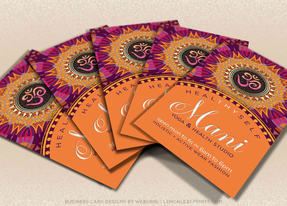 New Age Yoga Business Card | Fresh Energy Pink Orange Mandala ...