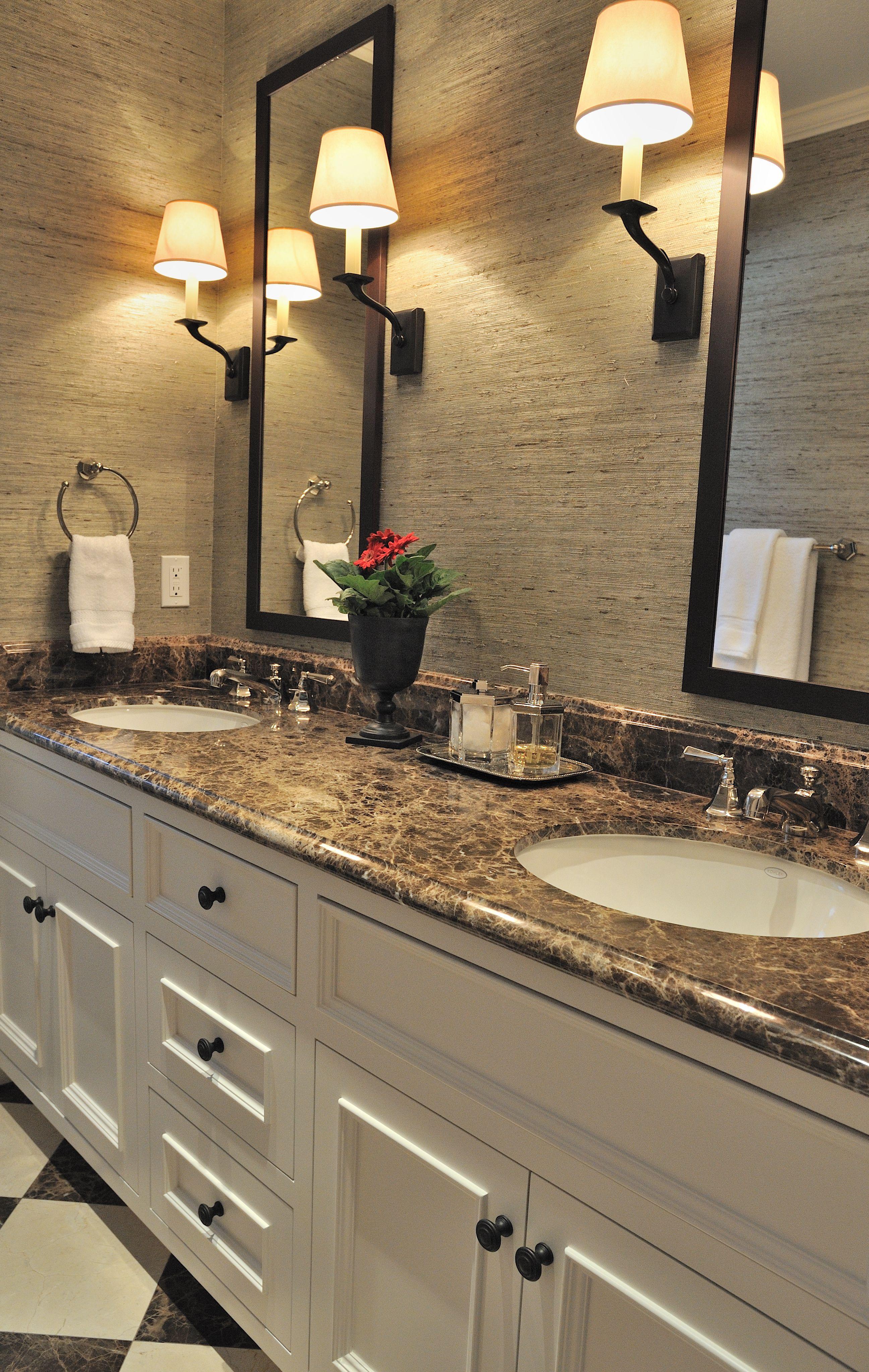 Guest Bath with grass cloth walls. Alexandra Luhrs Interior Design