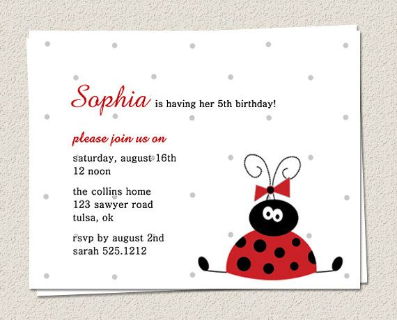 10 Birthday Party Invitations, 1st or any age - Little Red Ladybug. $7.50, via Etsy.  Just simple and sweet