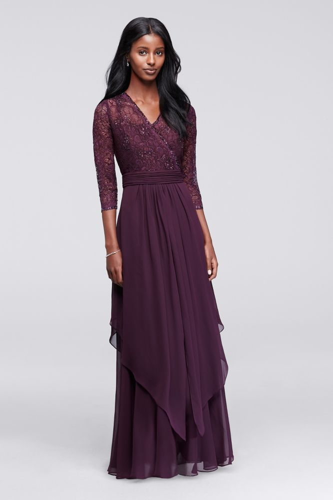 eaab41db6ac 3 4 Sleeve Beaded Illusion Lace and Chiffon Mother of Bride Groom Dress -  Eggplant (Purple)