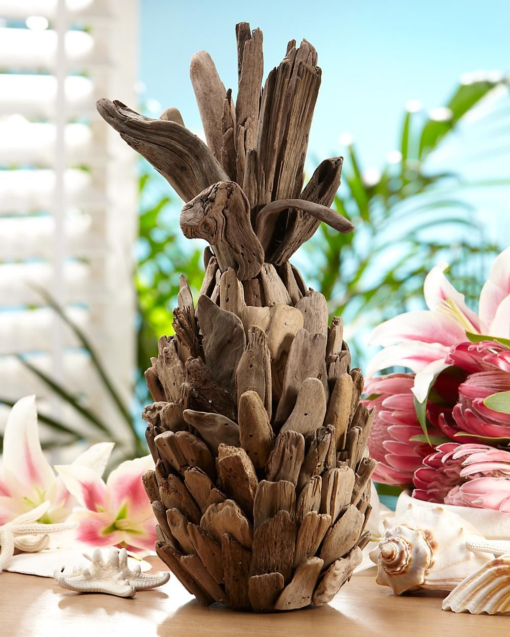 Driftwood pineapple very cool from tommy bahama i must for Pineapple outdoor decor