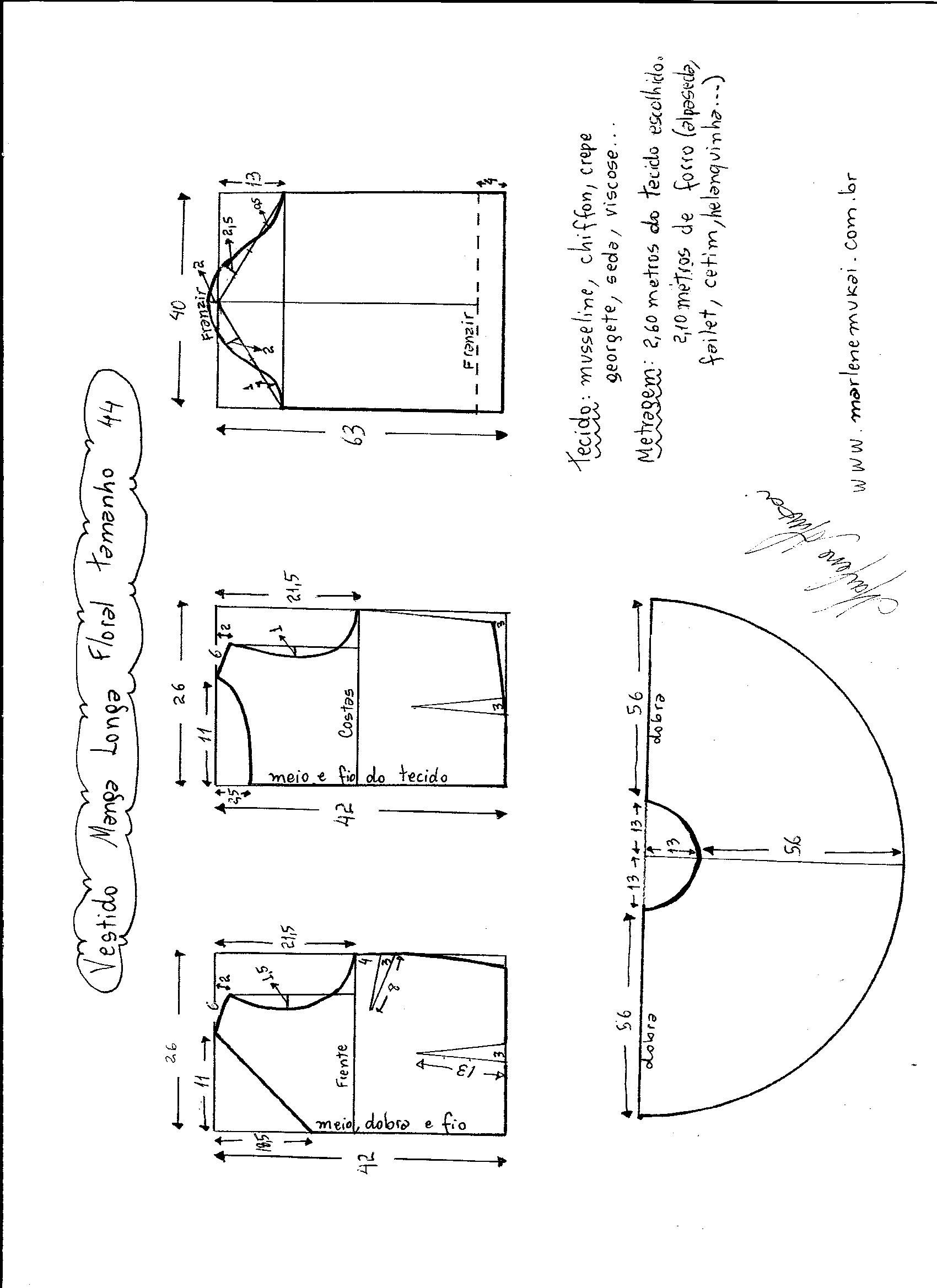 2d41a6149 Esquema de modelagem de vestido de manga longa tamanho 44. | Costura ...
