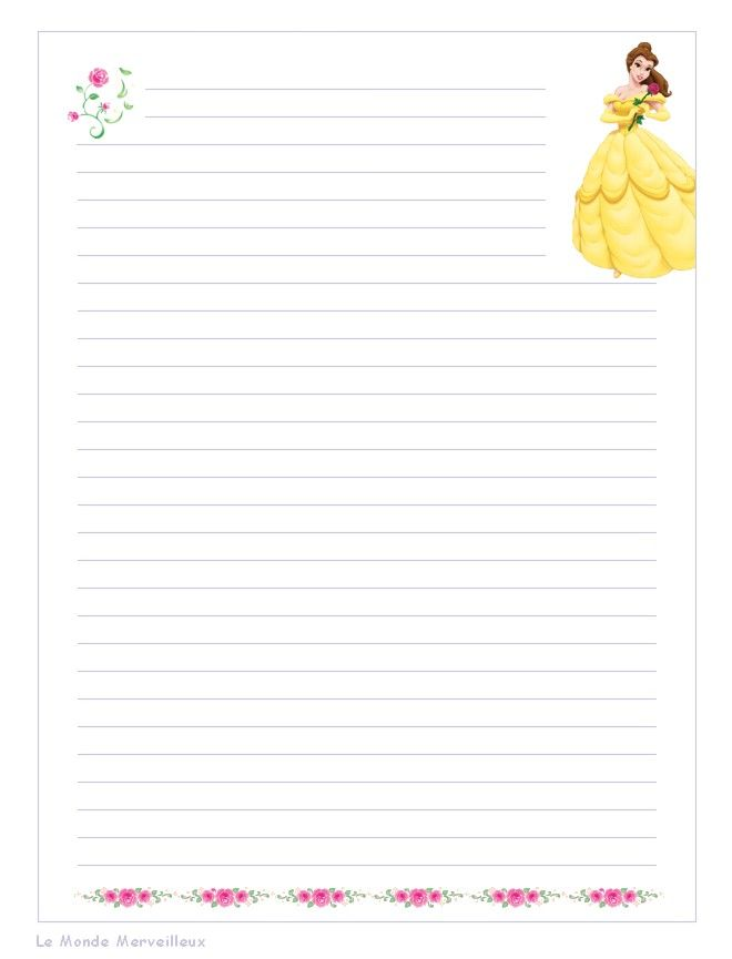 Papier a imprimer notes notebook paper stationary printable writing paper - Lettre disney ...