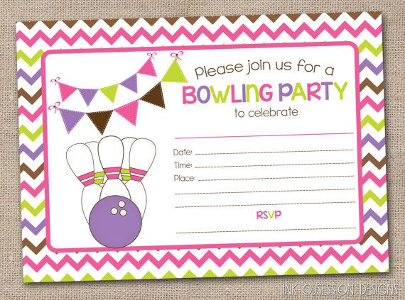 Printable Girls Bowling Party Invitation Fill in the Blank – Printable Bowling Party Invitations