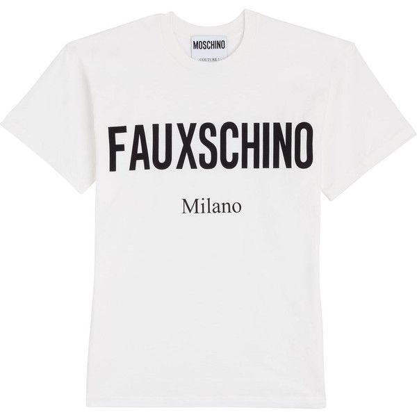 Moschino Faux Schino T-Shirt ($147) ❤ liked on Polyvore featuring tops, t-shirts, beige, beige t shirt, white tee, leather shirt, round neck t shirt and faux leather t shirt