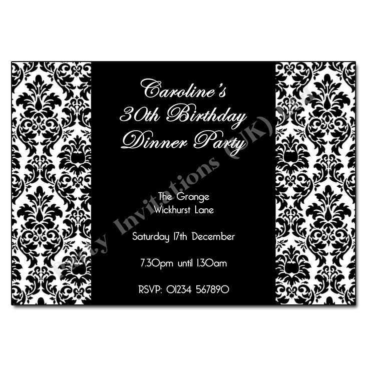 black and white party invitations use some amazing accessories and