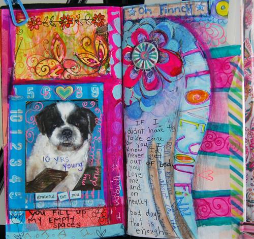 Pet Art Journal Page, finney foo foo! My Midori Traveler's Notebook.  Suzi Blu