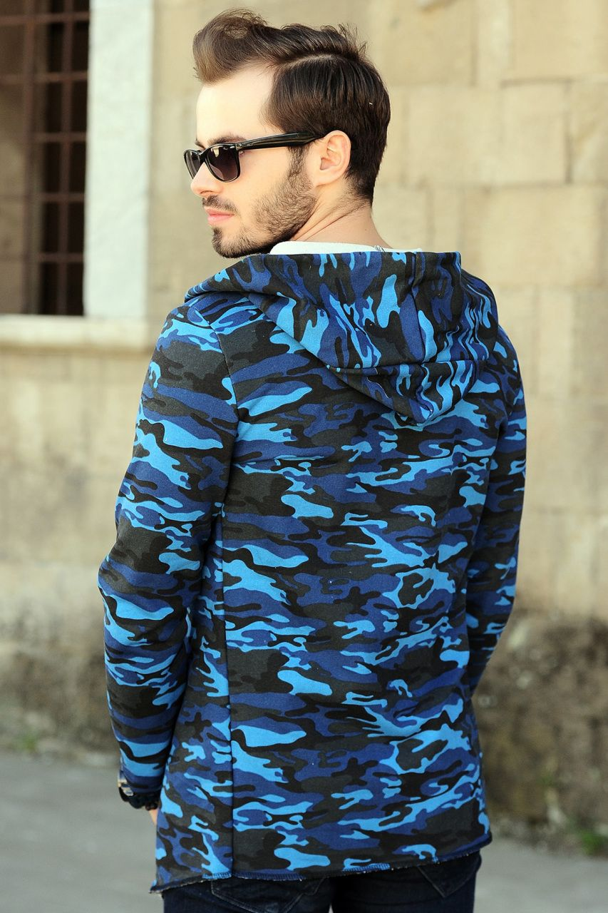 b552b15fe4657 Kapşonlu Mavi Kamuflaj Hırka #giyim #indirim #kampanya #bayan #erkek #bluz