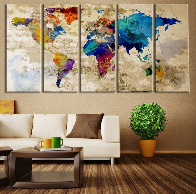 Decorate the walls with your own hands 40 home decor ideas world map canvas art print large wall art world map art extra large watercolor world map print for home and office wall decoration gumiabroncs Images