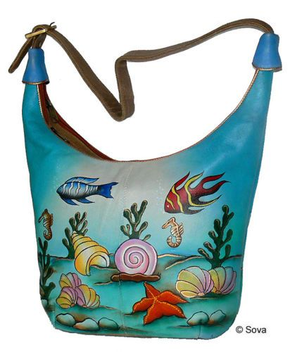Sova Hand Painted Leather Hobo Bag 12 Adorable