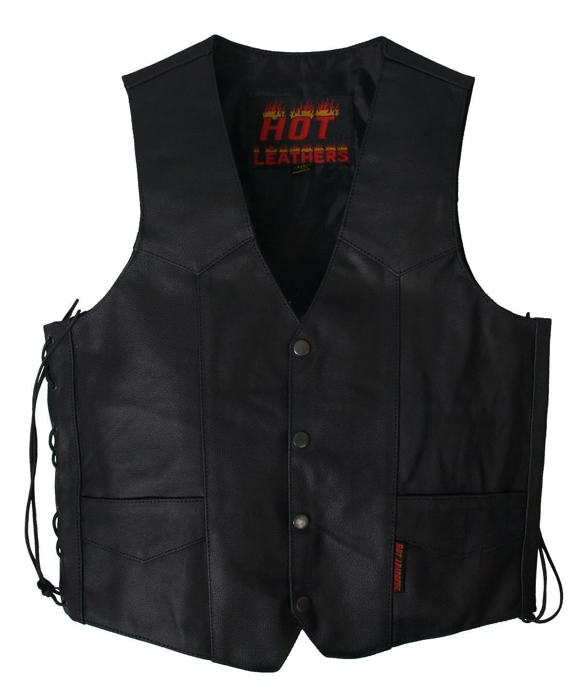 Black, XXXXX-Large Hot Leathers Mens Heavy Weight Leather Vest
