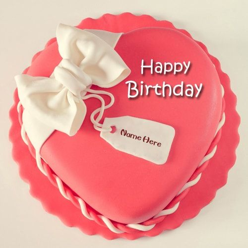 pink happy birthday heart shape cake name edit HBD Cake ...