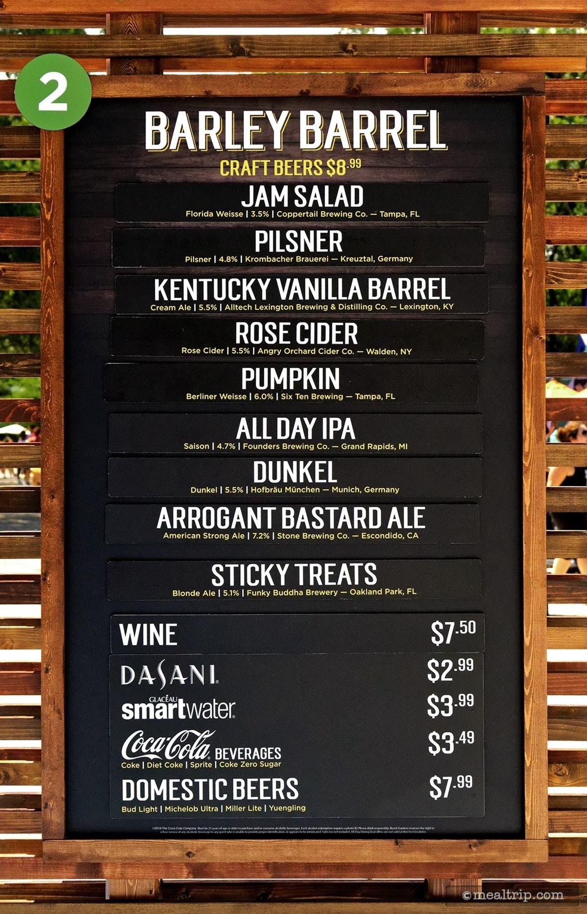 The Barley Barrel menu and price board for Bier Fest 2018