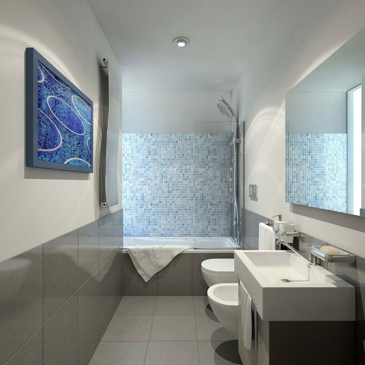 looks like there is a window or skylight on the other side of the shower modern narrow bathroom design ideas with attractive ocean blue mosaic tiles and - Design Bathroom Ideas