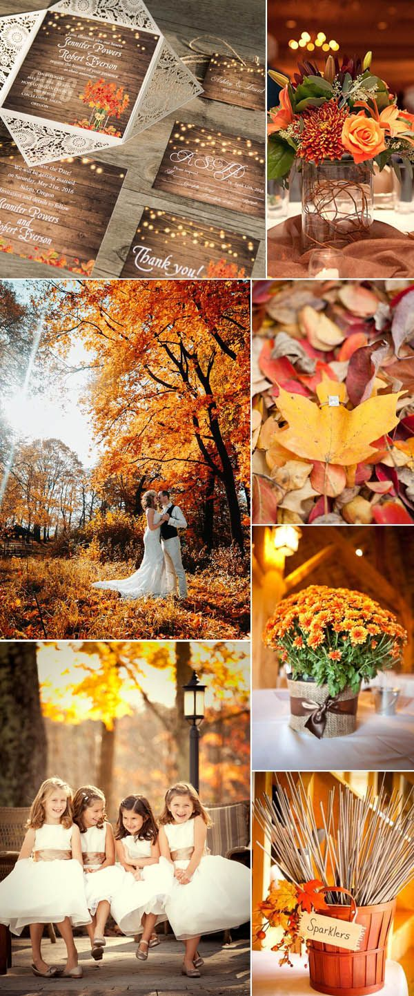 Wedding decorations with feathers  Ten Beautiful Fall Wedding Invitations To Match Your Wedding Colors