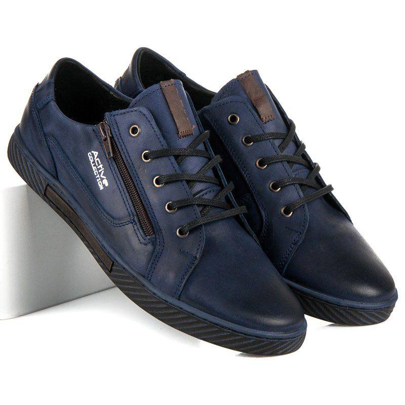 Polbut Skorzane Trampki Meskie Niebieskie Shoes All Black Sneakers Sneakers