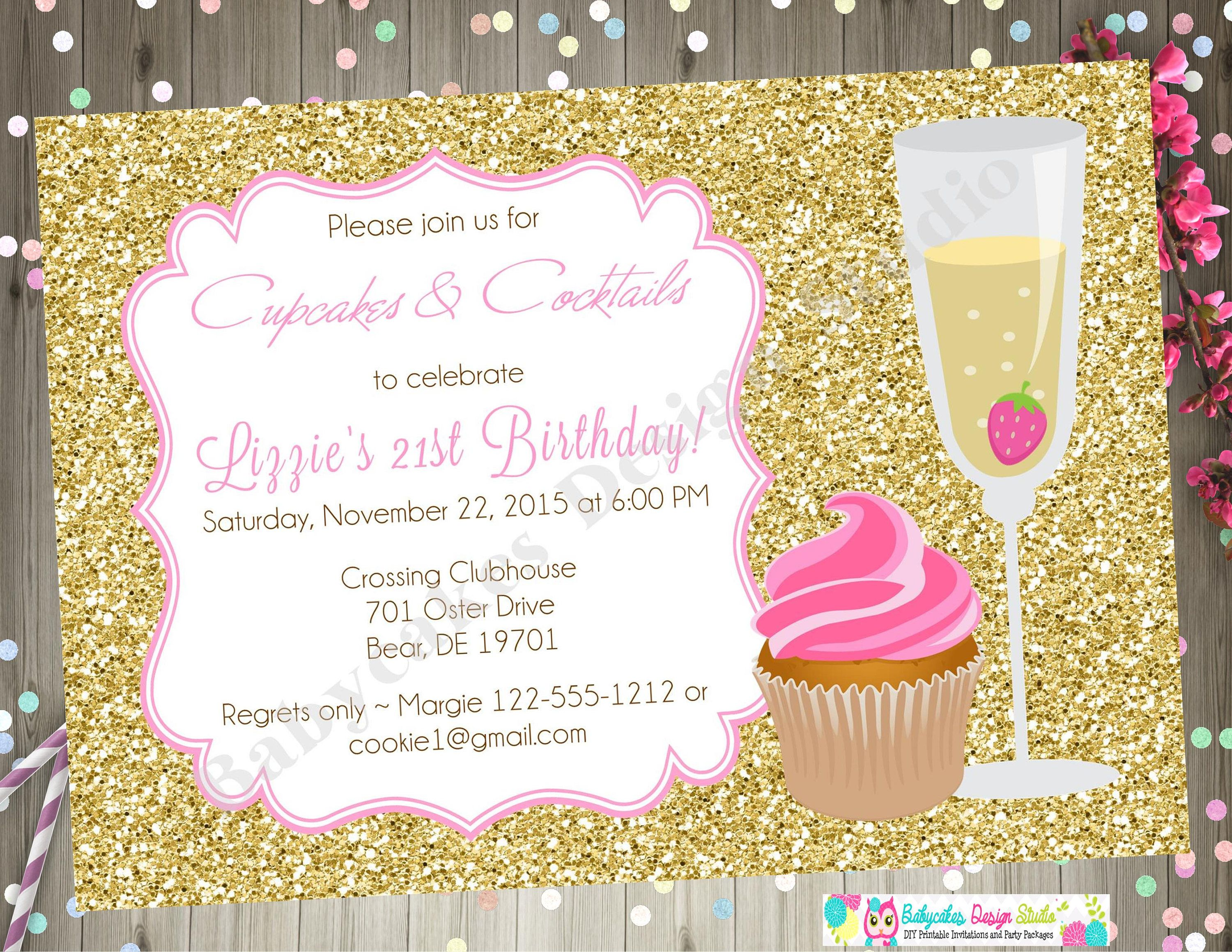 cupcakes and cocktails birthday invitation champagne and cupcakes 21st birthday pink and gold party printable invite wedding shower