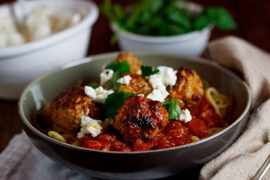 3-meat & Ricotta Meatballs in Tomato sauce on Spaghetti