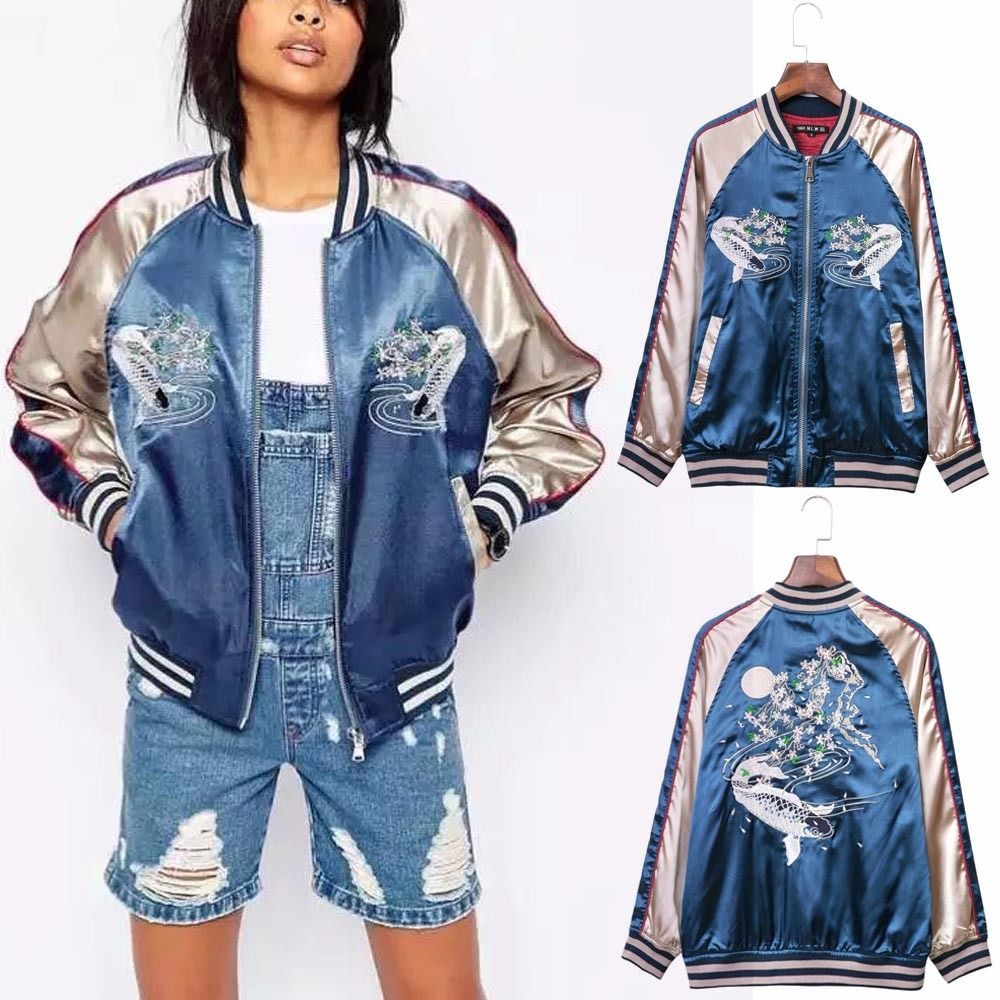 Embroidery Satin Fish Jacket Coat Pilots Slim Baseball Bomber Outerwear Top  Blue