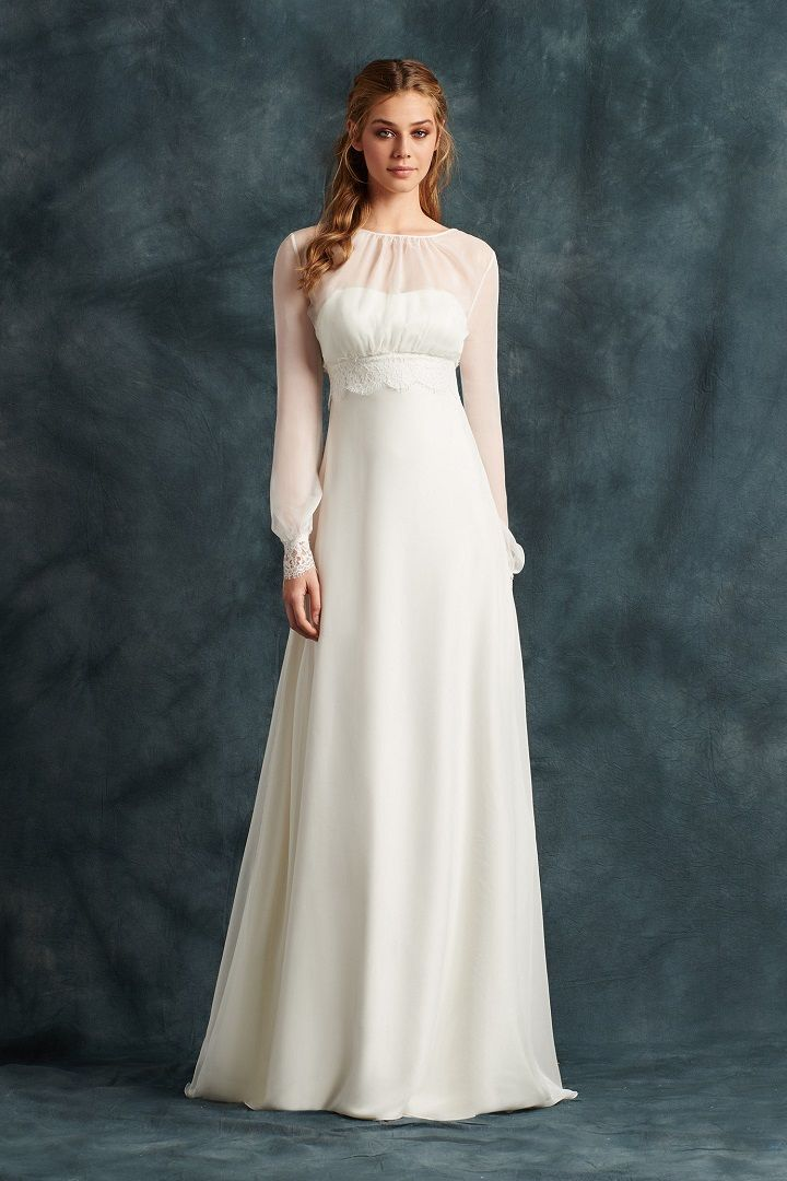 Empire Dress in chiffon and lace with long sleeves | fabmood.com #weddingdress #ateliereme #bridal #bride #weddingdresses2017