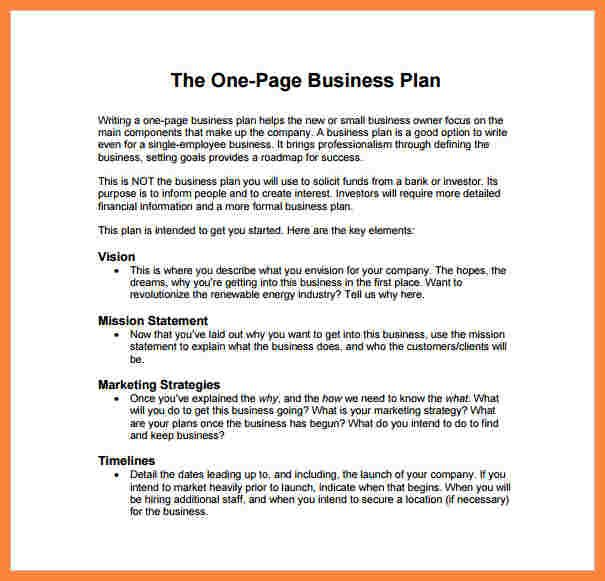 business plan template simple