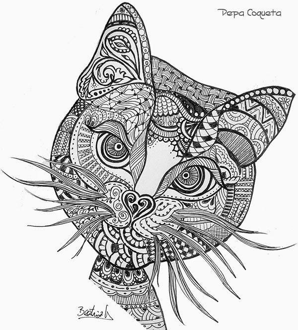 Garabatos Zentrazos Doodles Animal Coloring Pages Cat